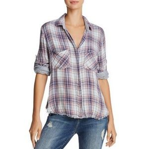 BELLA DAHL Frayed Button Down Shirt